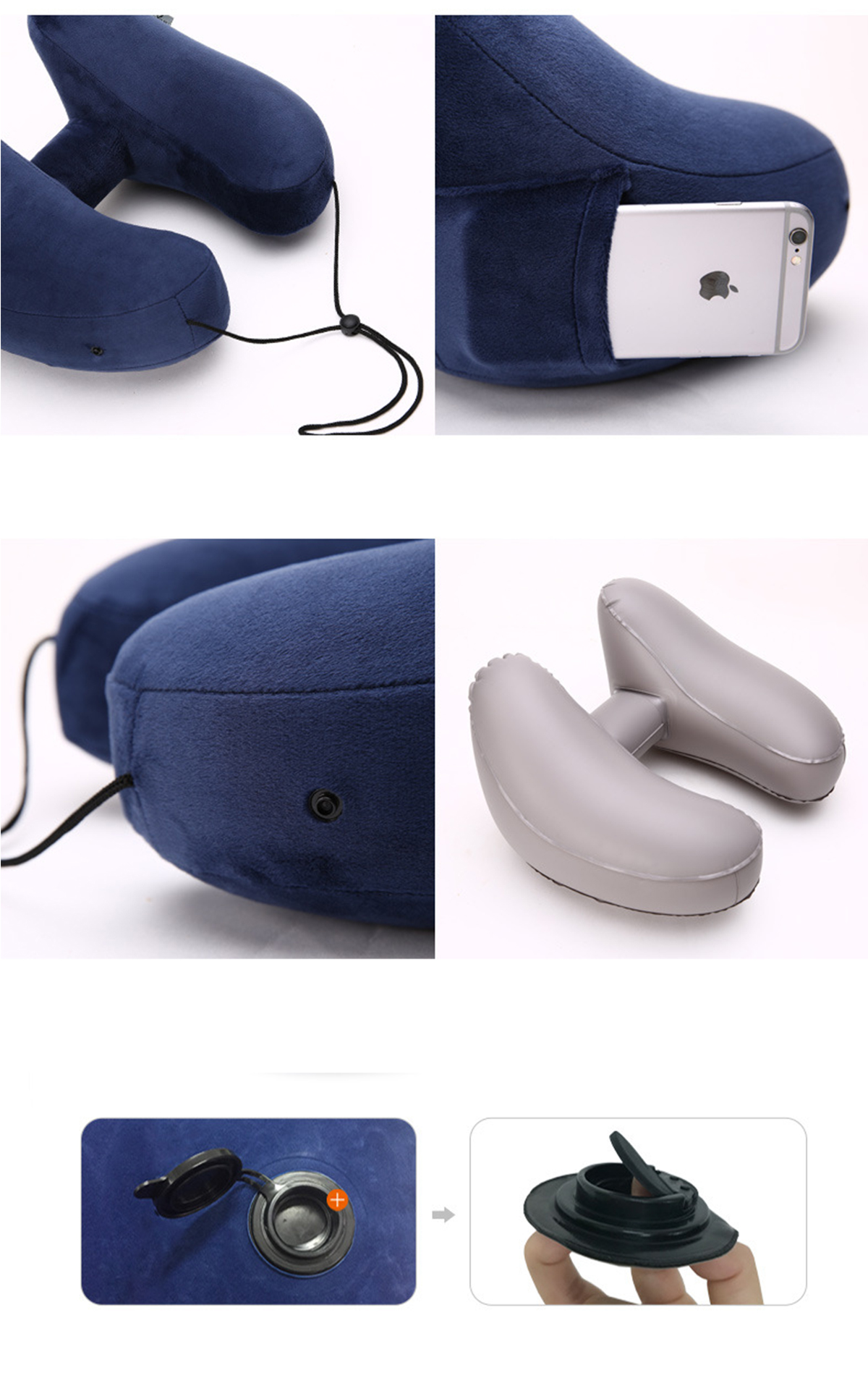 H-Shaped Inflatable Travel Pillows