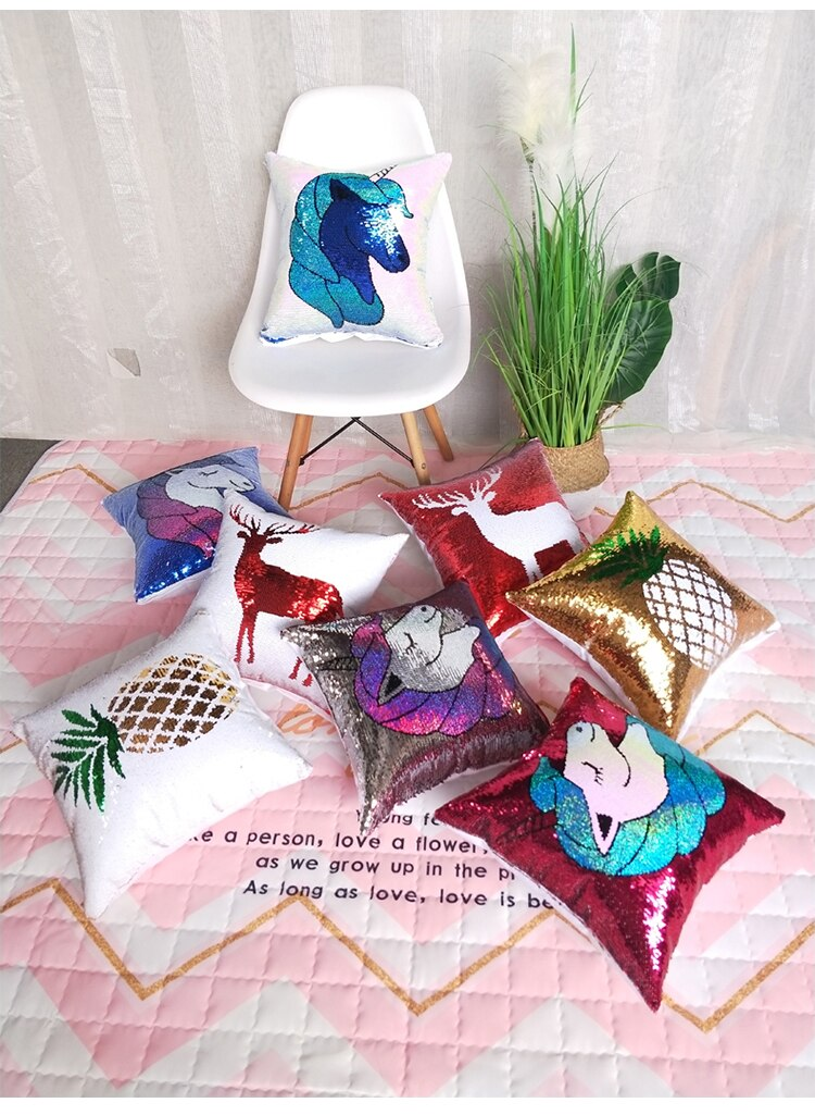 Sequined Unicorn Patterned Pillows
