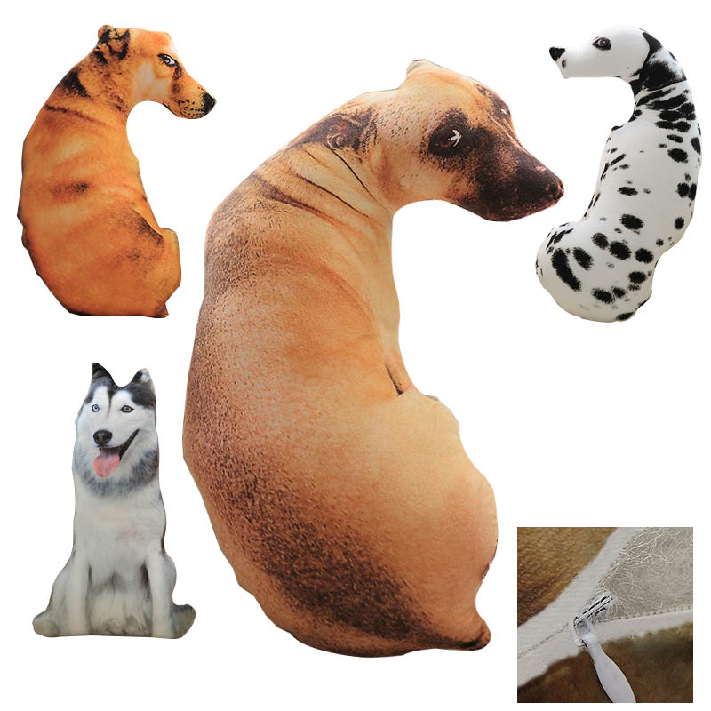 3D Dog Shaped Short Plush Pillows